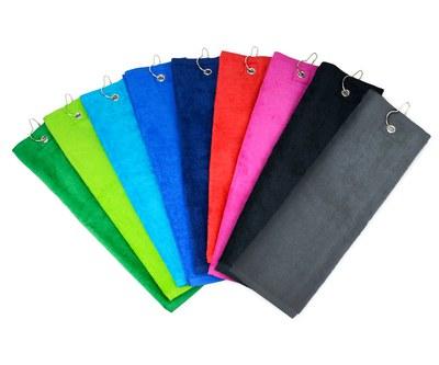 Golfhanddoek met geborduurde naam, 40x50 cm, met karabijnhaak