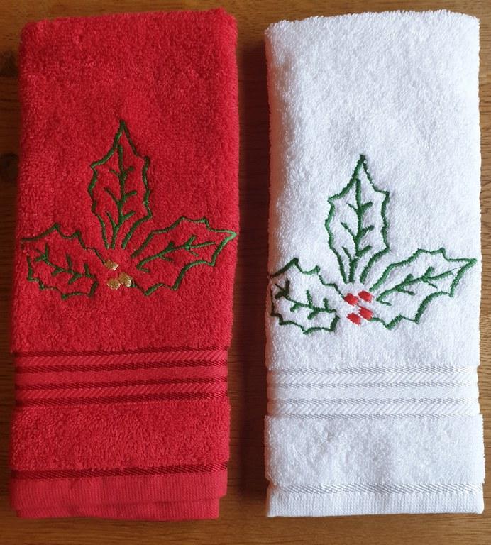 Kersthanddoek hulstblad